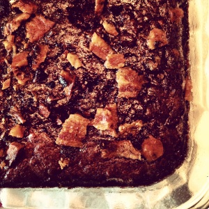 Bourbon bacon brownies for garden night
