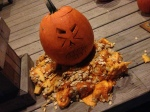 Tom's other pumpkin. Also a face he made as a result of the incident with the nail.